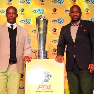 Mandla Ncikazi coach of Maritzburg United and Steve Komphela coach of Kaizer Chiefs  during the MTN8 Launch  on 23 July 2015 at The Venue Pic Sydney Mahlangu/BackpagePix