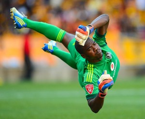 Senzo Meyiwa of Orlando Pirates during the Absa Premiership football match between Kaizer Chiefs and Orlando Pirates at Soccer City in Johannesburg on March 09, 2013©Barry Aldworth/BackpagePix