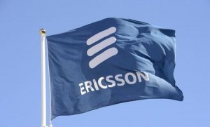Ericsson's flag is seen at the company's headquarters in Stockholm March 11, 2015. REUTERS/Jonas Ekstromer/TT News Agency