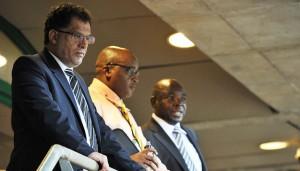 Danny Jordaan, 2010 LOC CEO (l), Ace Kika, SAFA GC (c) and Kirsten Nematandani, SAFA President (r) ©Chris Ricco/Backpagepix