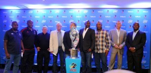 Sly Mosala coach of University of Pretoria, Williams Okpara Orlando Pirates, Clive Barker coach of Maritzburg United, Gordon Igesund coach of Supersport United, Muhsin Ertugral coach of Black Aces, Steve Komphela coach of Kaizer Chiefs, Serame Letsoaka coach of Golden Arrows, Ernst Middendorp coach of Free State Stars and Pitso Mosimane coach of Mamelodi Sundowns during the Telkom Knockout Quarter Final Draw on 05 October at PSL Offices Pic Sydney Mahlangu/ BackpagePix