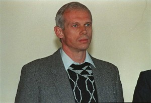 Janusz Walusz (L) and Clive Derby-Lewis, who were charged with the 10 April 1993 killing of South African Communist Party Secretary-General Chris Hani, pose 23 June during a Truth and Reconcilliation Commission hearing concerning their amnesty in Benoni, east of Johannesburg. Walusz, a Polish immigrant, and Derby-Lewis of the Conservative Party (CP), were sentenced to life imprisonment in 1994.