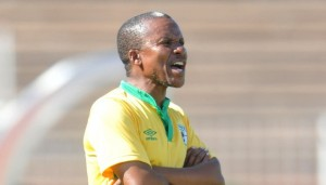 Kgoloko Thobejane, coach of Baroka during the National First Division match between Baroka FC and FC Cape Town at the Old Peter Mokaba Stadium in Polokwane, South Africa on February 14, 2016 ©Samuel Shivambu/BackpagePix