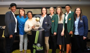 Blanche de la Guerre and Mimi Mthethwa, NSA President with the players during the 2016 Brutal Fruit Netball Premier League Breakfast at Southern Sun Hotel, Durban in Kwa-Zulu Natal South Africa on 24 May, 2016 ©Muzi Ntombela/BackpagePix
