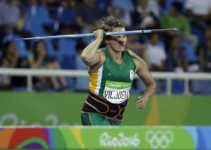 South Africa's Sunette Viljoen makes an attempt in the women's javelin qualification during the athletics competitions of the 2016 Summer Olympics at the Olympic stadium in Rio de Janeiro, Brazil, Tuesday, Aug. 16, 2016. (AP Photo/Matt Slocum)