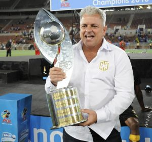 POLOKWANE, SOUTH AFRICA - DECEMBER 10: John Comitis lift the trophy after the Telkom Knockout Final match between SuperSport United and Cape Town City FC at Peter Mokaba Stadium on December 10, 2016 in Polokwane, South Africa. (Photo by Philip Maeta/Gallo Images)